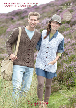 Waistcoat and Cardigan in Hayfield Aran with Wool 100g - 7064 - Downloadable PDF