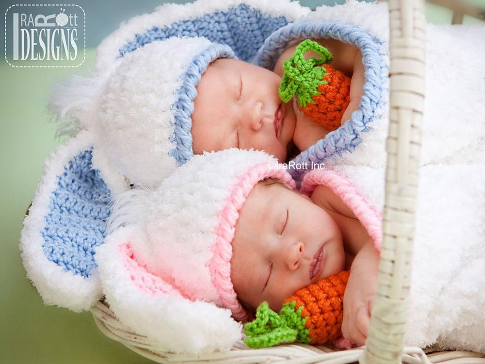 Bunny Rabbit Baby Hat With Carrot And Cocoon Set Crochet Pattern