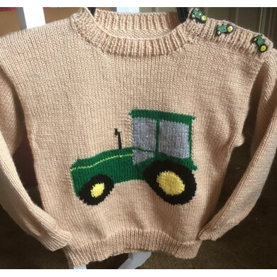 Child's Green Tractor Sweater