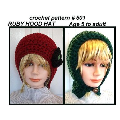 501, Ruby Fitted Hood Hat, crochet pattern
