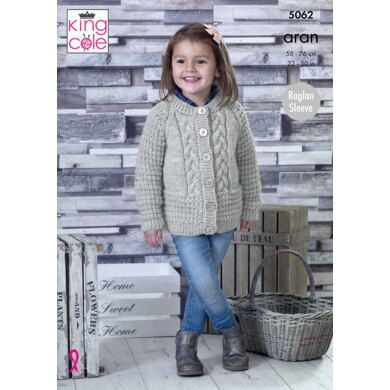 Round and V Neck Cardigans in King Cole Aran - 5062pdf - Downloadable PDF