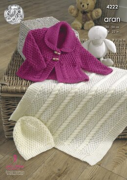 Jacket, Blanket & Hat in King Cole Comfort Aran - 4222 - Downloadable PDF