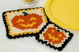 Wiggly Jack-O-Lantern Hot Pad and Coaster