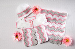 Chevron Cap & Cardigan in Premier Yarns Anti-Pilling Everyday Baby - Downloadable PDF