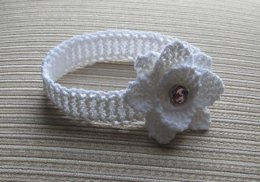 White Knitted Headband with a Rose