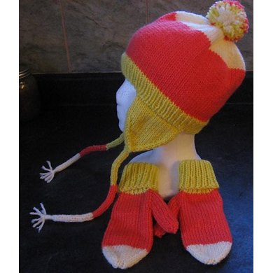 Candy Corn Earflaps Hat and Mittens