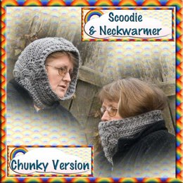 Cabled Scoodie and Neckwarmer - Chunky version