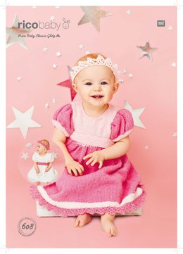 Dresses and Headband in Rico Baby Classic Glitz DK - 608 - Downloadable PDF