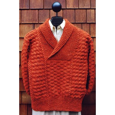 Mari Sweaters MS 172 Cable & Check Shawl Collar