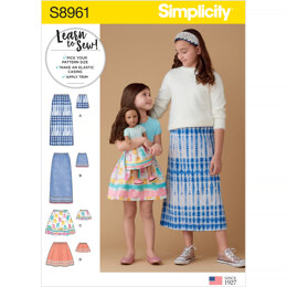 Simplicity S8961 Children's, Girls, and Dolls Skirts - Sewing Pattern