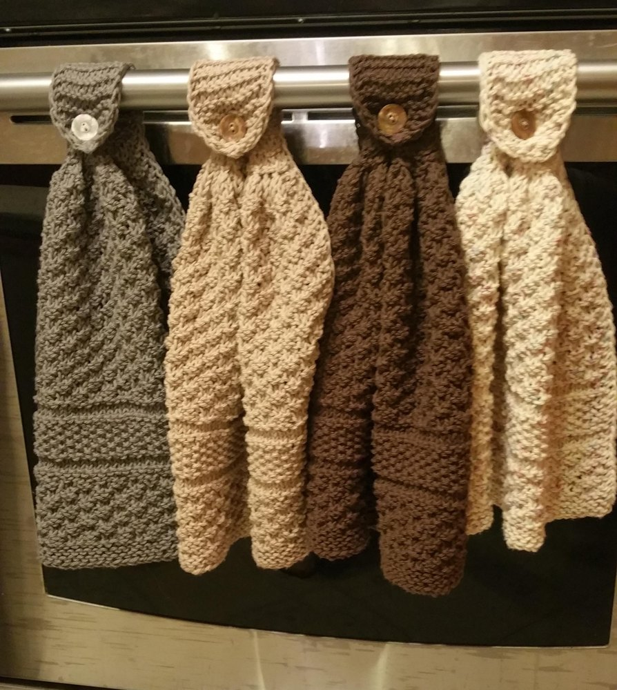 Knit Kitchen Towel Patterns : Knitted hanging kitchen towels Knitting pattern by Dixie S