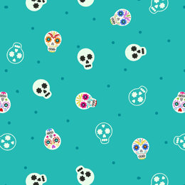 Lewis and Irene Small Things Glow - Sugar Skulls On Turquoise