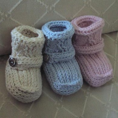 Cabled Cuff Booties