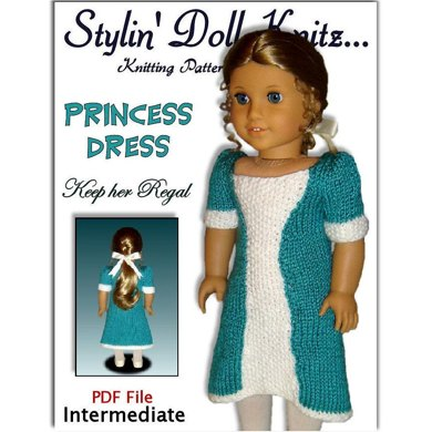 Princess Dress, Knitting Pattern for American Girl and 18 inch dolls. 038