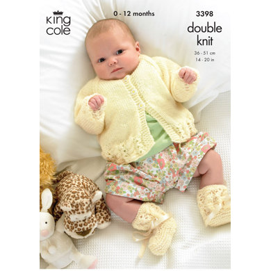 Cardigan, Dress and Bootess in King Cole DK - 3398