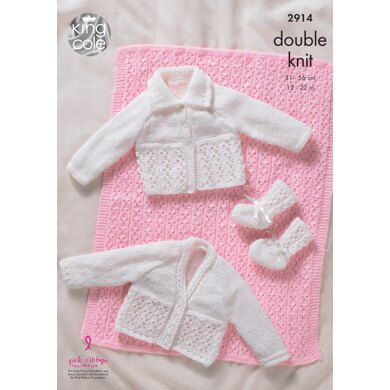 Pram Cover, Cardigans and Bootees in King Cole DK - 2914 - Downloadable PDF