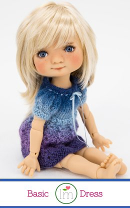Basic Dress for 11 inch Dumplings dolls by Meadowdolls. Doll Clothes Knitting Pattern.