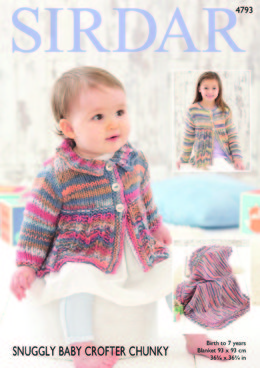 Baby Girl and Girl Coats and Blanket in Sirdar Snuggly Baby Crofter Chunky - 4793 - Downloadable PDF
