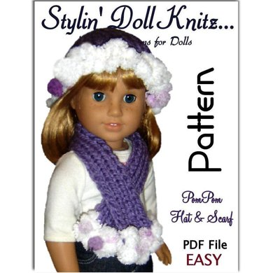 PomPom hat and scarf, fits 18 inch, American Girl Doll 105