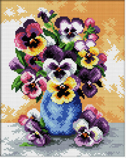 Needleart World Vase of Pansies No-Count Cross Stitch Kit - 17cm x 22cm