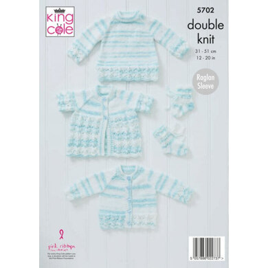 Cardigan, Matinee Coat, Sweater and Bootees in King Cole Baby Stripe DK - 5702 - Leaflet
