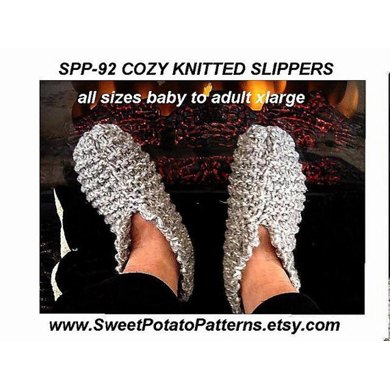Cosy Knitted Slippers All Sizes!  | Knitting Pattern by SweetPotatoPatterns