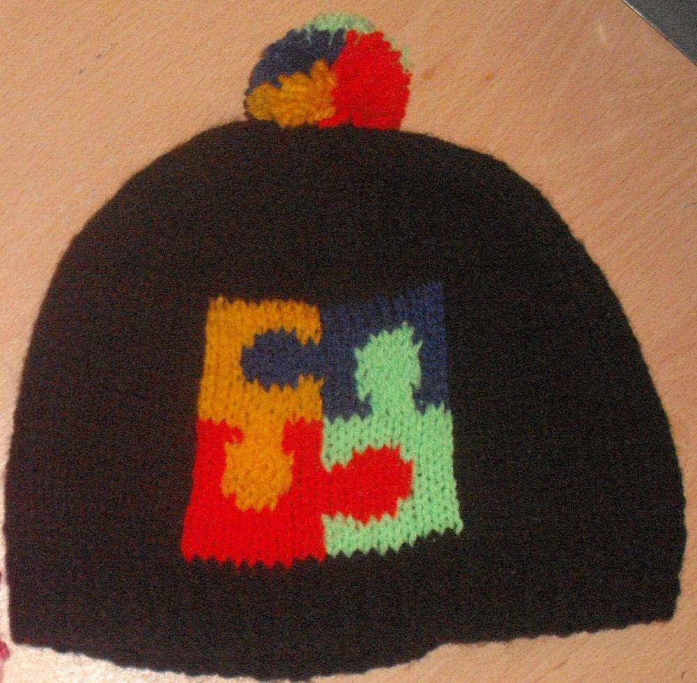 Logo Knitting Pattern : Puzzle logo beanie for autism awareness knitting pattern
