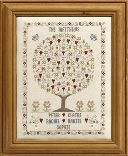 Historical Sampler Company Butterfly & Bee Family Tree Cross Stitch Kit