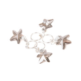 Crystal Star Knitting Stitch Markers (pack of 4) - Ring 10mm