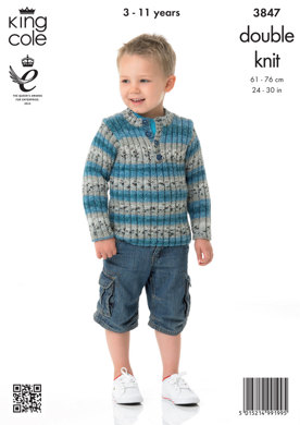 Childrens' Cardigan and Sweater in King Cole Splash DK - 3847