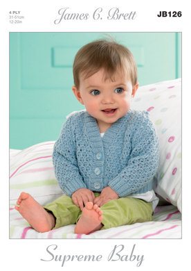 Waistcoats and Cardigans in James C. Brett Supreme Baby 4 Ply - JB126