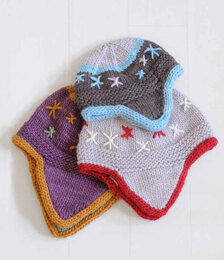Flurry Flap Hats in Blue Sky Fibers Worsted Hand Dyes