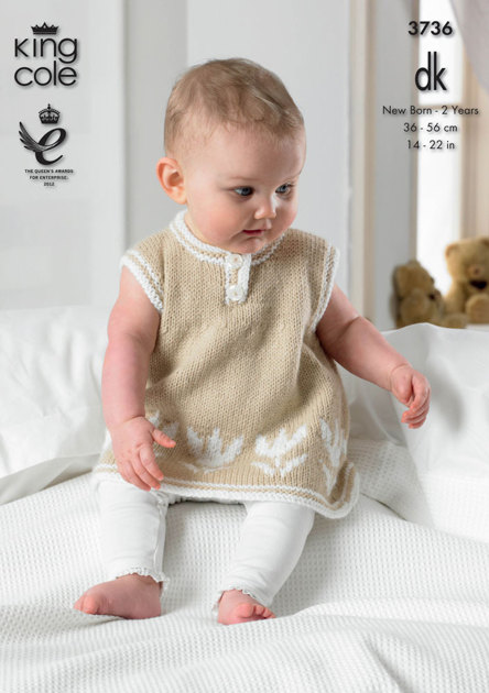 Dress And Short Cardigan In King Cole Comfort Baby Dk 3736