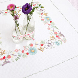 Rico Spring Meadow 90 x 90cm Embroidery Tablecloth Kit