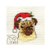 Mouseloft Christmas Card Stitchlet - Santa's Pug Cross Stitch Kit