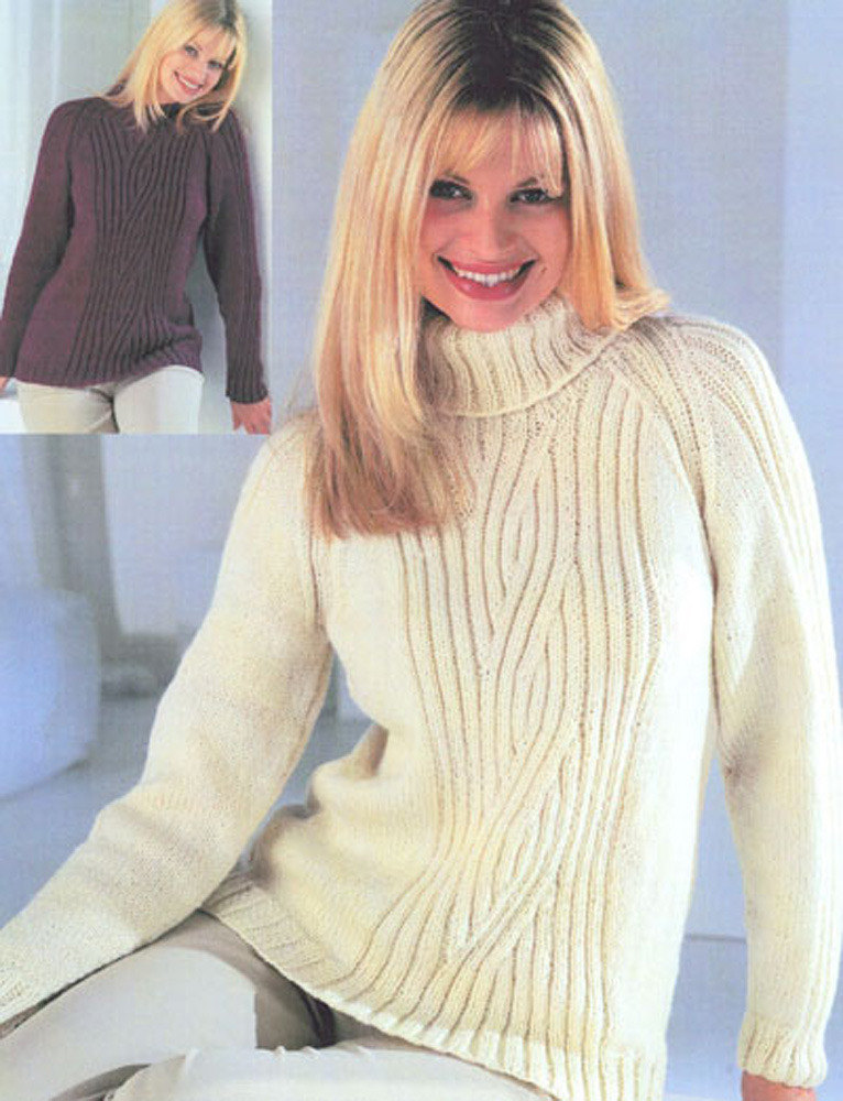 Raglan Sweater with Crew or Polo Neck in Wendy Aran with Wool ...