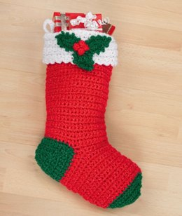 Crochet Holly Stocking in Red Heart Super Saver Economy Solids - WR1561