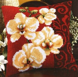 Vervaco White Orchids Cushion Front Chunky Cross Stitch Kit
