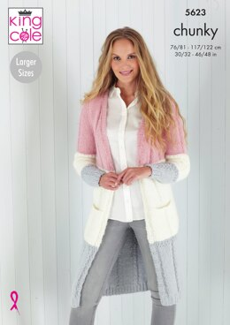 Cardigans in King Cole Timeless Chunky - 5623 - Downloadable PDF