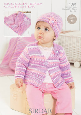 Cardigan, Blanket and Hat in Sirdar Snuggly Baby Crofter DK - 1391 - Downloadable PDF