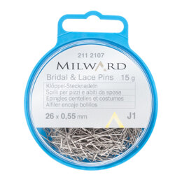 Milward Straight Pins 55mm Silver - 26 Pieces
