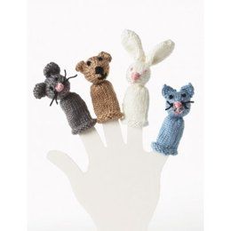 Bear, Bunny, Kitty and Mouse Finger Puppet in Bernat Satin