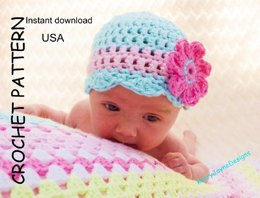 Scalloped Flower Hat USA