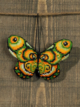 Permin Green and Orange Butterfly Cross Stitch Kit