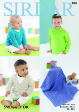 Boy's Sweaters, Cardigan & Blanket in Sirdar Snuggly DK - 4880 - Downloadable PDF