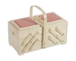 Cantilever Sewing Box with Red Check Pin Cushions, Beech Wood