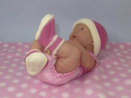 Just For Preemies - Premature Baby 4 Ply Bumper Booties and Beanie