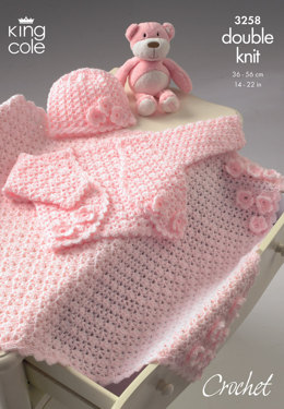 Bolero, Hat & Pram Blanket in King Cole DK - 3258