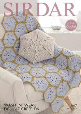 Cushion Cover and Throw in Sirdar Wash 'n' Wear Double Crepe DK - 7817