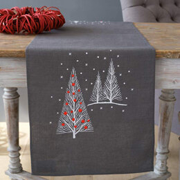 Vervaco Christmas Trees Table Runner Embroidery Kit - 38 x 138cm
